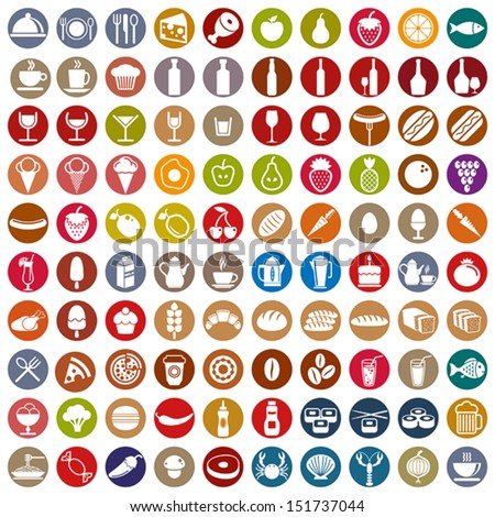100 food and drink icons set, color vectors collection. - stock vector