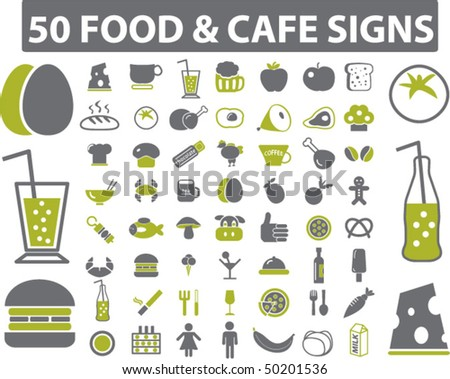 50 food & cafe signs. vector