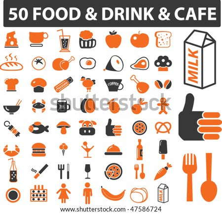 50 food & drink & cafe signs. vector