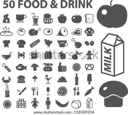 50 food & drink icons set, vector