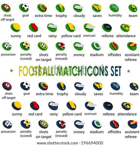 2014 football tournament icons set Brazil, vector - stock vector