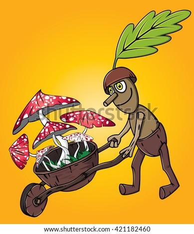 forest oak man picking mushrooms autumn season design - stock vector