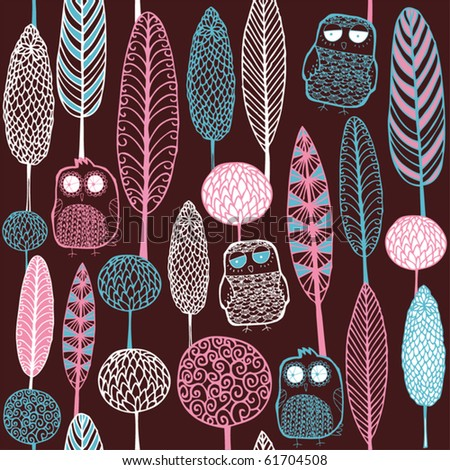 forest with owl seamless pattern - stock vector