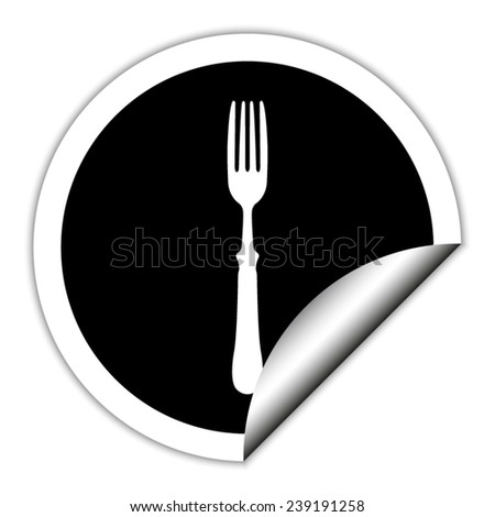 fork  - black vector icon. Round sticker. - stock vector