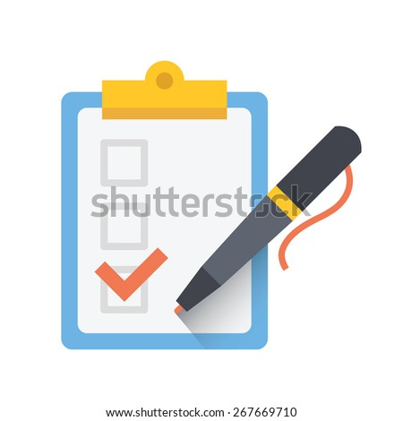Form with pen and checklist icon. Vector illustration. Isolated on white background. - stock vector