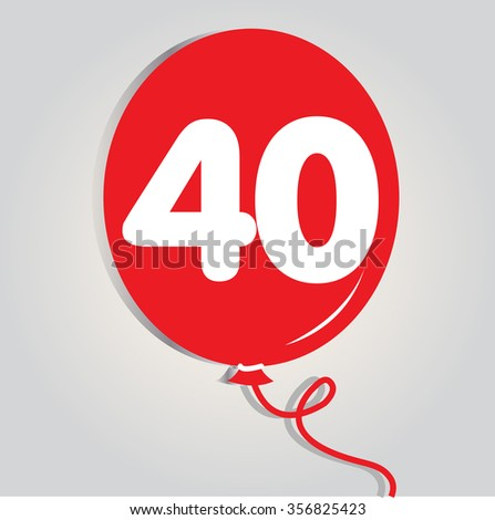 forty logo with balloon. Vector illustration.