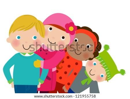 Four children,winter - stock vector