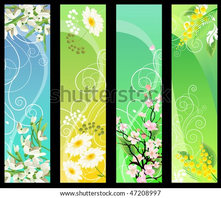 Four different beautiful vertical floral banners - stock vector