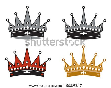 Four simple crowns - vector