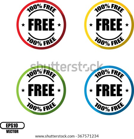 100% free, Button, label and sign - Vector illustration - stock vector