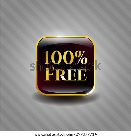 100% Free gold badge - stock vector