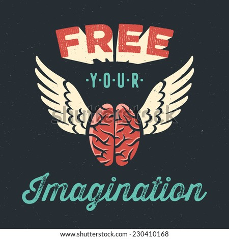 'Free your imagination' creative tee shirt apparel print poster design, flying brain icon, dark background, vector illustration - stock vector
