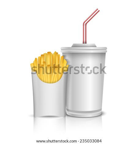 French Fries And A Glass Of Cola In Tray Vector Illustration - stock vector