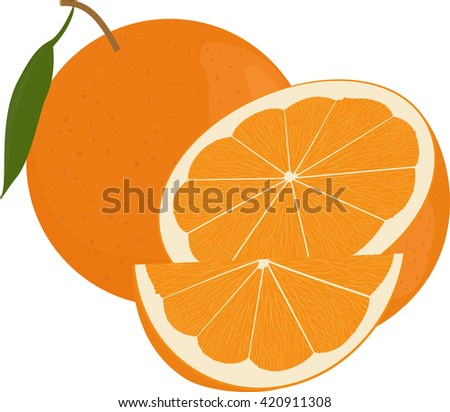 Fresh oranges fruits with green leaf, whole  and half  isolated on white - stock vector