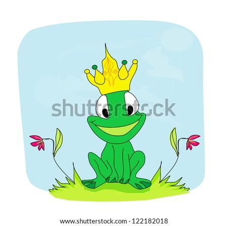 Frog Prince Cartoon Character - stock vector