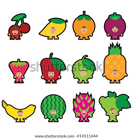 12 Fruits mascot Set1. I love fruits concept for kids. Happy funny fruits. Flat vector illustration design. - stock vector