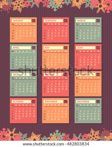 2017 Full Calendar, Snowflakes Background Design. Promotion Poster Vector Template, Week Starts Sunday