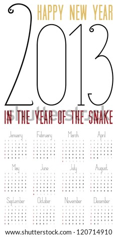 2013 Funny and Playful Calendar of the Year of the Snake - stock vector