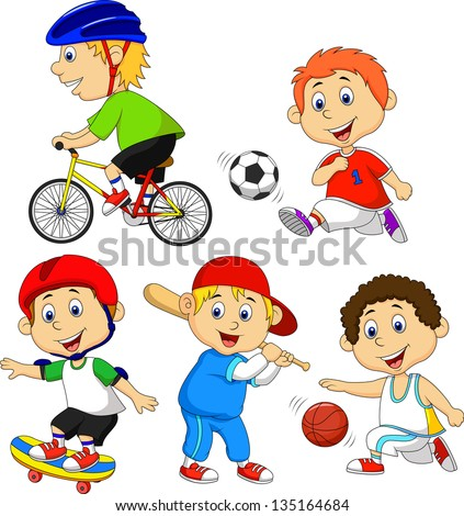 Funny boy cartoon character doing sport - stock vector