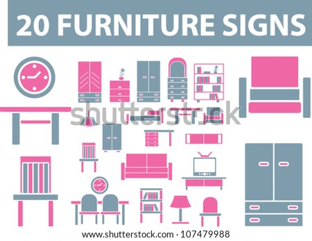 20 furniture icons set, vector - stock vector