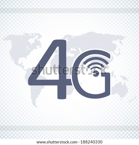 4G network poster on world map background blue style art - stock vector