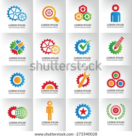 16 Gear and engineer logo template on clean background, clean vector. - stock vector