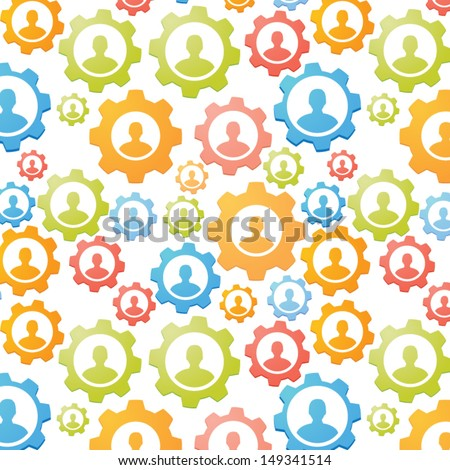 Gears teamwork concept seamless pattern - stock vector