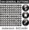 100 general glossy buttons icons, signs, vector illustrations - stock vector