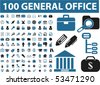 100 general office signs. vector - stock vector