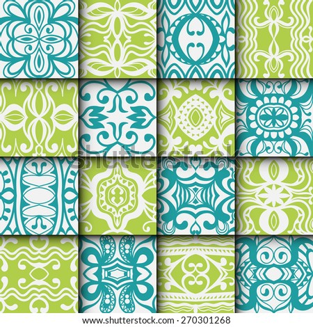 16 Geometric colorful seamless patterns set. Vector repeating texture, line art. Abstract background. - stock vector