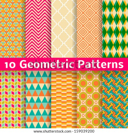 10 Geometric patterns (tiling). Set of vector seamless abstract vintage backgrounds. Retro orange, pink and blue colors. Endless texture can be used for printing onto fabric and paper or scrap booking - stock vector