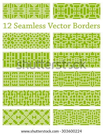 12 geometric seamless borders or backgrounds based on square patterns, vector illustration for use in your creative projects