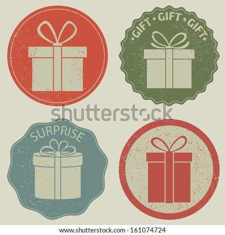 Gift box icon. Vector set, grunge, EPS 8. - stock vector