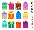 gift boxes set with different  pattern - stock vector