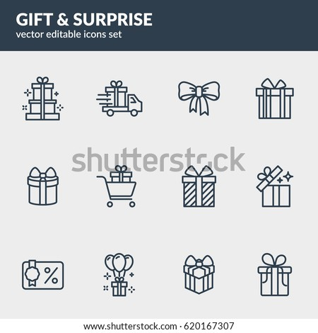 """Gift & Surprise"" line icons set. Editable stroke. Eps10 vector"