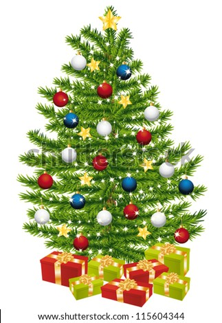 Gifts under a beautiful and decorated christmas tree. - stock vector
