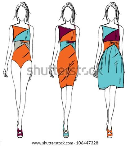 girl fashion sketch orange theme - stock vector