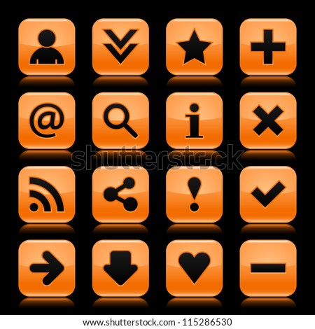 16 glass orange icon with black basic sign. Rounded square shape web button with color reflection on dark black background. Vector illustration design elements saved in 8 eps - stock vector
