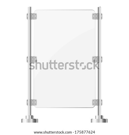 Glass screen with metal racks. eps10 - stock vector