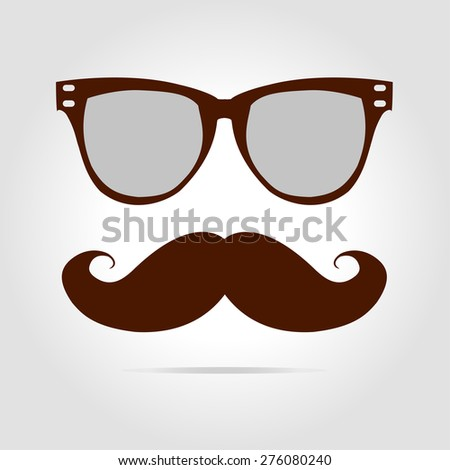 Glasses and mustache. Vector illustration - stock vector