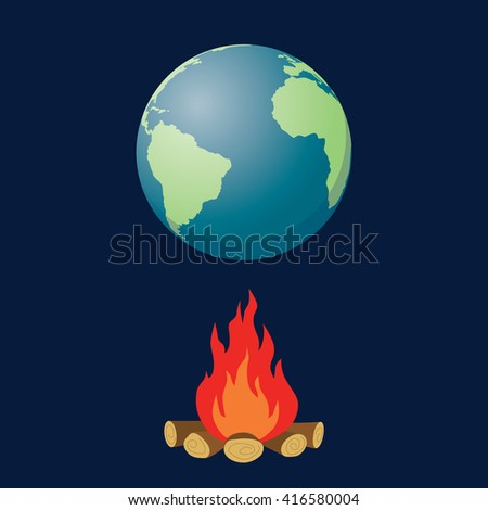 global warming illustration with globe and fire bonfire vector graphic illustration