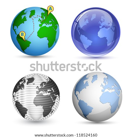 4 Globe Icons. Planet, Earth, Globe icon set. Vector illustration