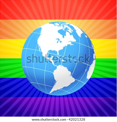 Globe on glowing rainbow background - stock vector