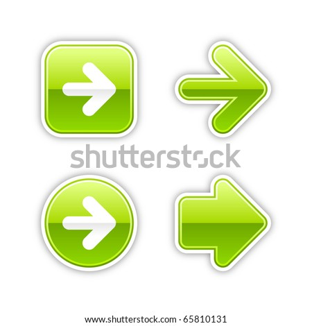 4 glossy arrow sign web 2.0 stickers. Green button with gray shadow on white. 10 eps - stock vector