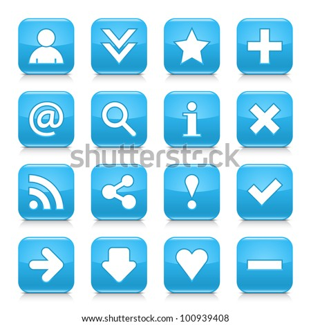 16 glossy blue button with basic sign. Rounded square shape internet web icon with black shadow and reflection on white background. This vector illustration design elements saved 8 eps - stock vector