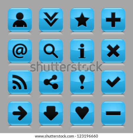 16 glossy blue button with black basic sign. Rounded square internet web icon with black shadow and reflection on light gray background. Vector illustration clip-art design elements in 8 eps - stock vector