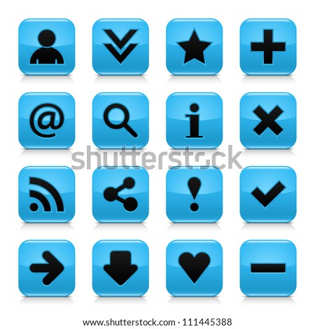 16 glossy blue button with black basic sign. Rounded square shape web internet icon with gray reflection and dark shadow on white background. Vector illustration clip-art design elements saved 8 eps - stock vector