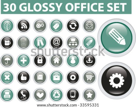 30 glossy buttons set. vector
