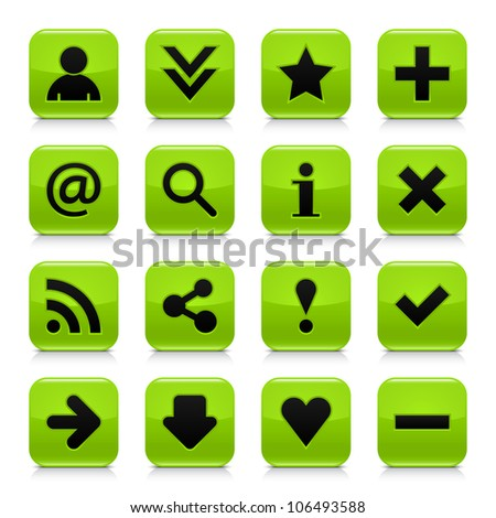 16 glossy green button with black basic sign. Rounded square shape internet web icon with dark shadow and gray reflection on white background. This vector illustration design elements saved 8 eps - stock vector
