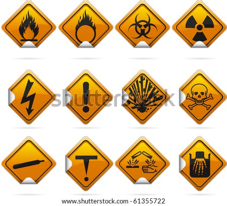 12 glossy hazard stickers. The highlights are on one layer if a flat look is prefered. The signs have not been flattened and are broken up into layers for easy editing. - stock vector